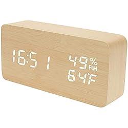 F.G. MINGSHA Alarm Clock Wooden Digital Clock Modern Decorative Electronic LED Desk Clock Display Time Date Temperature Humidity 3 Alarms Brightness Adjustable for Home Office Bedroom(Beige)