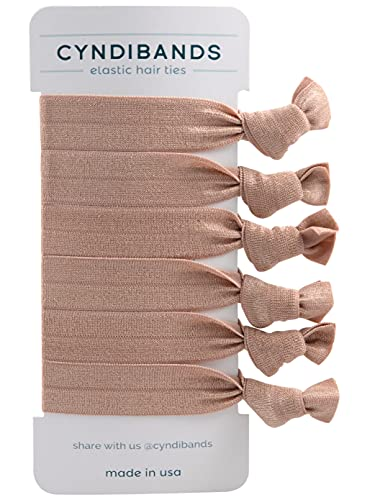 Cyndibands Knotted Ribbon Elastic Hair Ties - 6 Count (Rose Gold Light Brown)