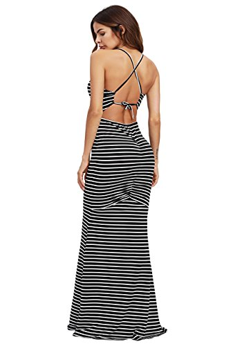 SheIn Women's Strappy Backless Summer Evening Party Maxi Dress White Stripes Small