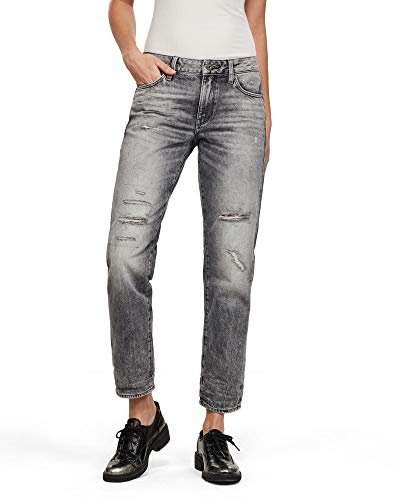 G-STAR RAW Damen Kate Boyfriend Jeans, Grau (Sun Faded Ripped Basalt C049-B162), W32/L32 (Herstellergröße: 32W/ 32L)