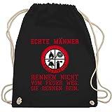 Shirtracer Feuerwehr - Echte Männer rennen ins Feuer! - Unisize - Schwarz - feuerwehrschlauch - WM110 - Turnbeutel und Stoffbeutel aus Baumwolle