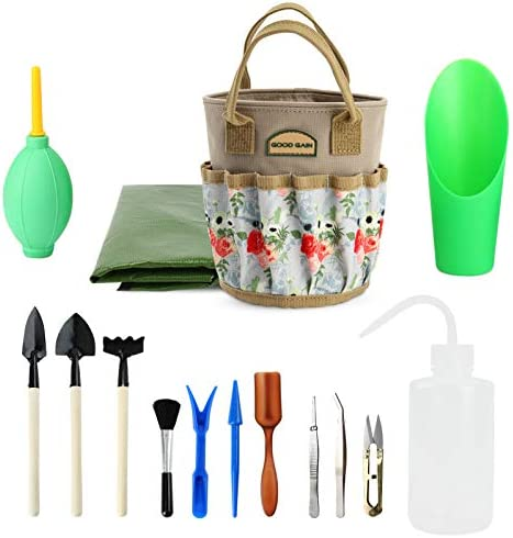 G GOOD GAIN 14 Pieces Succulent Tools Kit with Organizer Bag Indoor Mini Garden Hand Tools Set product image