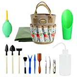G GOOD GAIN Succulent Tools Kit with Organizer Bag,14 Pieces Indoor Mini Garden Hand Tools Set with Carrier,Transplanting Tools Set with Tote for Bonsai Planter.Miniature Indoor Fairy Planting Care.