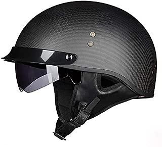 Leoie Helmets Breathable Half Face Retro Design Racing Motorbike Helmets Matte Black Carbon Fiber XXL