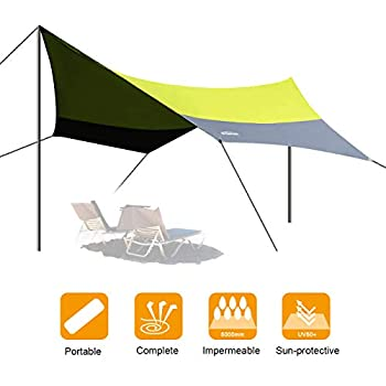 OVERMONT 5m x 5m Voile d'ombrage Bâche Pare-Soleil de Plein Air Tente Solaire Toit de Camping Imperméable Tente de Plage Vert/Bleu