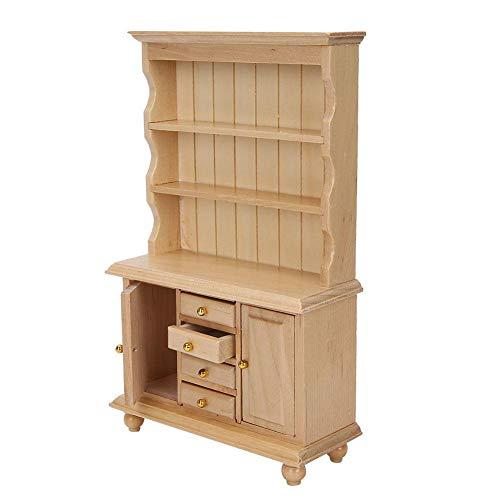 Mini gabinete de casa de muñecas, gabinete de tres capas, fácil de transportar y almacenar, gabinete de casa de muñecas, dormitorio para niños duradero y no tóxico para(Wood color)