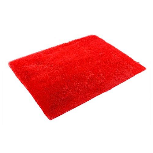 Desconocido Alfombra Felpudo Antideslizante de Piso Zona Mullida Peluda para Dormitorio Casa - Rojo