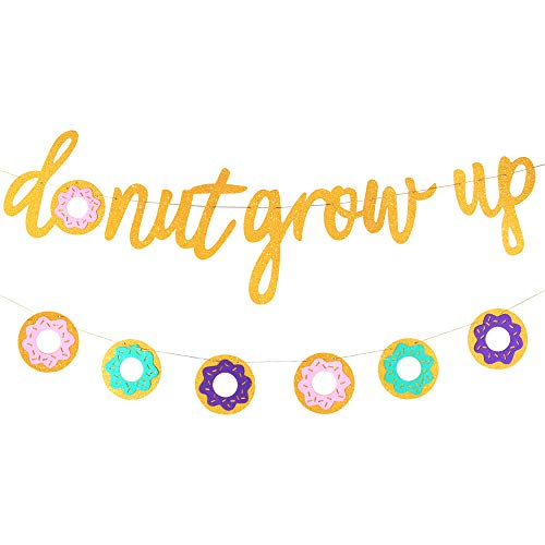 Glitter Donut Grow Up Banner Donut Grow Up Party Supplies Garland Kids Birthday Decorations Donut Grow Up Backgound String for Donut Themed Party,Birthday Party,Wall Decoration,Kids Room
