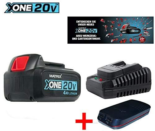 Originele Matrix AkkuX-ONE 20V met 4.0 Ah + USB powerbank adapter 2 x & snellader
