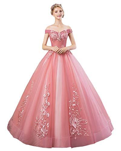 Nanger - Vestido de Tul de Princesa, de Quinceanera, con Parches, Largo, sin Hombros, para Fiestas