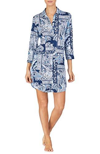 LAUREN RALPH LAUREN Women's Paisley Patchwork Jersey Knit Sleepshirt (Navy Print, Small)