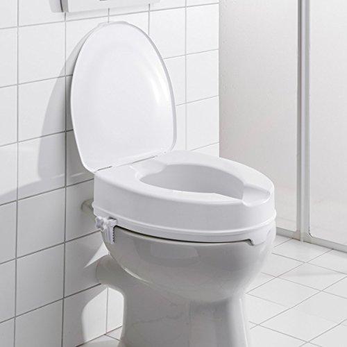 Toilettensitzerhöhung, Toilettenaufsatz WC-Aufsatz mit Hygiene- Ausschnitt & leichter Neigung, 10 cm Erhöhung, Kunststoff, weiß