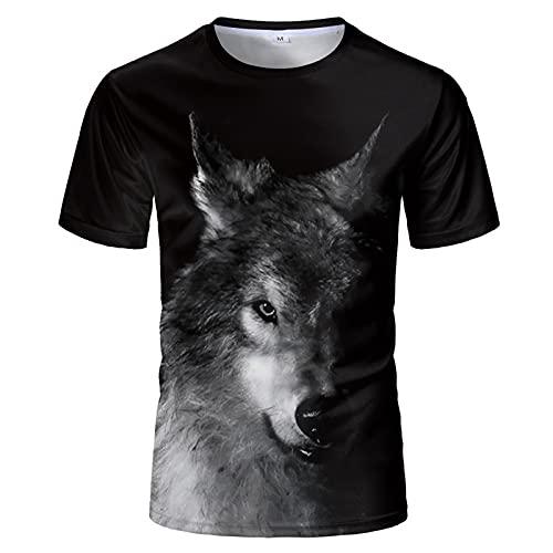 SSBZYES Camiseta para Hombre Camiseta De Manga Corta De Talla Grande para Hombre Camiseta Negra De Verano para Hombre Hedging Black Wolf Camiseta De Manga Corta con Estampado Camiseta De Pareja