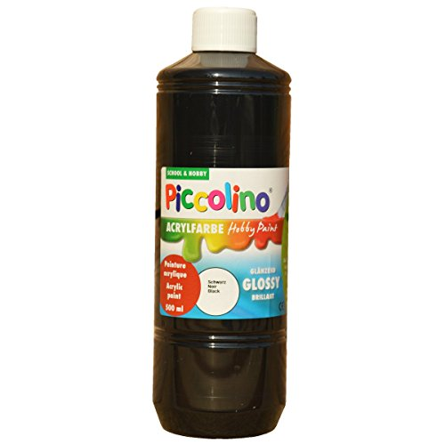 Piccolino Peinture Acrylique Brillante Hobby - Noir - Flacon de 500 ML