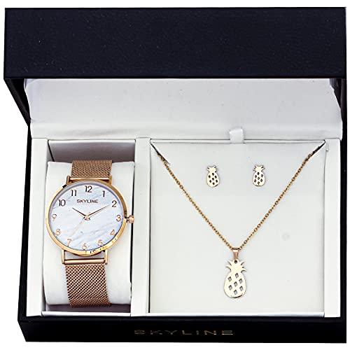 SKYLINE, Conjunto de Accesorios para Mujer, Reloj de Pulsera, Collar y Pendientes con Diseño de Piñas, Acero Inoxidable, Cumpleaños, Aniversario, etc, Oro Rosa