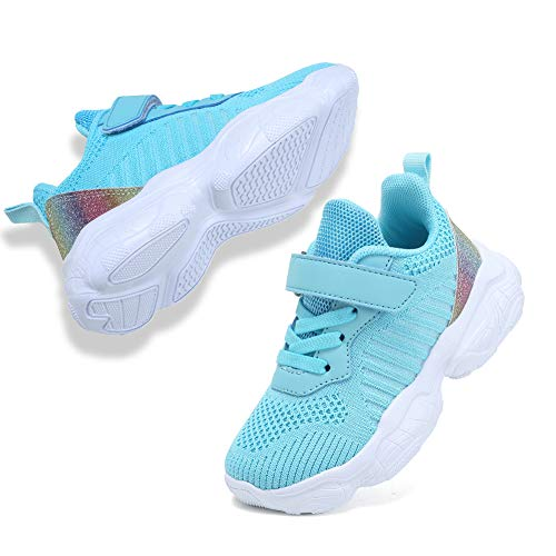 Coolloog Toddler/Little Kid/Big Kid Knitted Sneakers Lightweight Breathable Strap Athletic Running Walking Shoes for Boys Girls