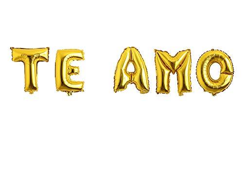 Carnavalife Pack Globos de cumpleaños Número/Letra Multicolor Decoración de Boda Aniversario Suministros de Fiesta Happy Birthday para Adultos y Niños Apto para Helio 45CM (Dorado, TE Amo)