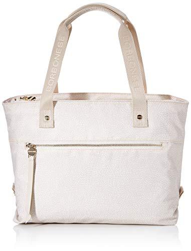 Borbonese Shopping Bag, Borsa Tote Donna, Avorio (Cream), 30x27x18 cm (W x H x L)