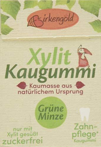 Birkengold Natur Xylit Kaugummi Grüne Minze   12er Pack   Natürliche Kaumasse aus dem Saft des Sapotillbaums und Candelillawachs   Zahnpflegend   zuckerfrei   Min. 70 % Xylit