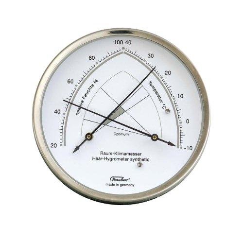 Binnenklimaatmeter, haar-hygrometer synthetisch, gecombineerd met thermometer, Ø 130 mm