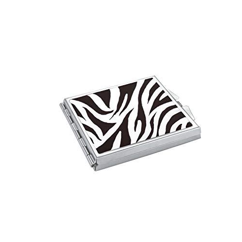 ba bijou-art Miroir de Poche Compact Émail Noir Blanc Métal Acier Inoxydable Ultra-Mince