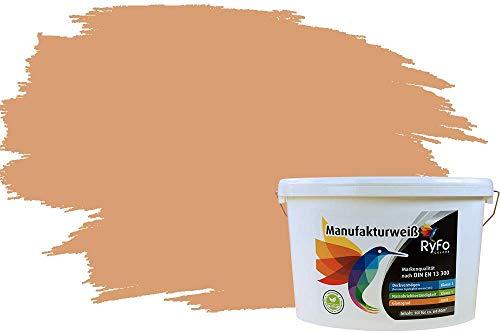 RyFo Colors Bunte Wandfarbe Manufakturweiß Ocker 10l - weitere Gelb Farbtöne und Größen erhältlich, Deckkraft Klasse 1, Nassabrieb Klasse 1