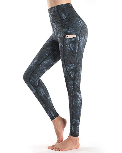 STYLEWORD Womens Yoga Pants with Pockets High Waist Workout Leggings Running Pants(Floral01-084C,L)