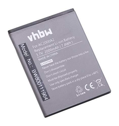 vhbw Li-Polymer batería 2000mAh (3.7V) para teléfono móvil Smartphone Archos 50c Oxygen por AC2000A2.