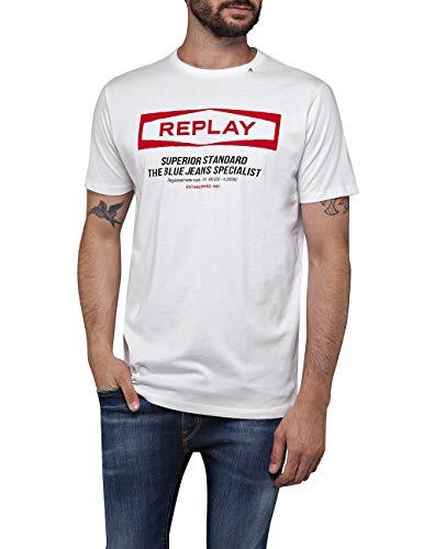 Replay Herren M3022 .000.22432 T-Shirt, Weiß (White 1), X-Large (Herstellergröße: XL)