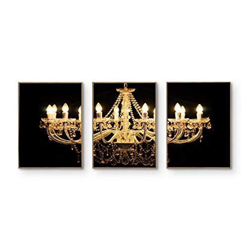 WENJING Modern huis goud zwart wit kroonluchter poster en afdrukken canvas muurkunst schilderijen voor de woonkamer 40 x 50 cm x 3 stuks geen lijst