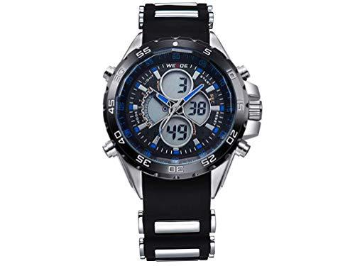 CursOnline - Elegante Reloj de Pulsera para Hombre Weide WH-1103R, Doble Hora analógica y Digital, LED y Cuarzo, Correa de Caucho Suave, Resistente al Agua, luz LED, Alarma y Fecha. Color Azul.