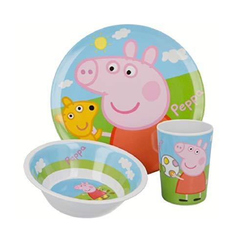 Peppa Wutz Pig Kinder-Geschirr Frühstücks-Set 3-tlg. Geschirr-Set