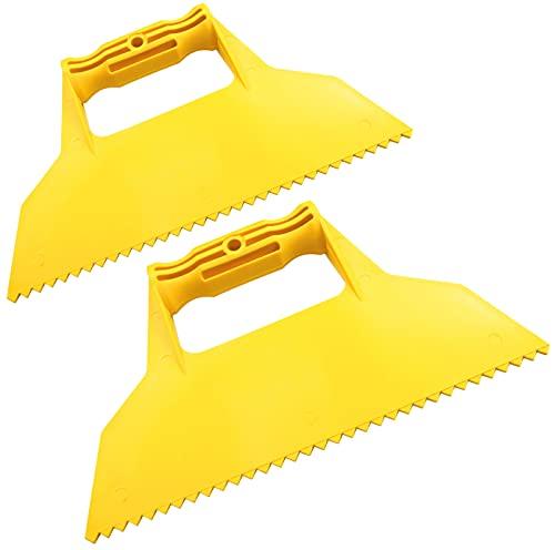 AERZETIX - Juego de 2 - Espátula con dientes triangulares - raspador de acabado mellado - 225mm - herramientas manuales para la construcción - albañilería/mampostería/yeso - C50032