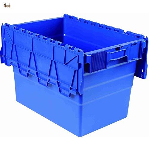 BricoLoco Caja gaveta almacenaje Industrial apilable plástico con Tapa. Contenedor Almacenamiento, mudanza,...