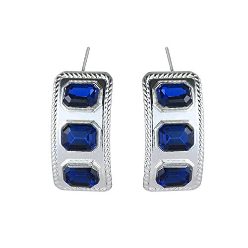 Pendientes de tuerca con diseño de tres piedras azul marino y plata Olong