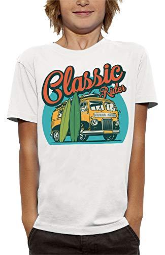 PIXEL EVOLUTION Camiseta Classic Rider Niño - tamaño 5/6 años - Blanco