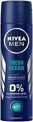 NIVEA MEN Fresh Ocean Deo Spray im (150 ml), Deo ohne Aluminium (ACH) mit erfrischender Formel, Deodorant mit 48h Schutz pflegt die Haut