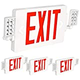 Hykolity Ultra Slim Red Exit Sign, 120-277V Double Face LED Combo Emergency...