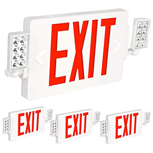 Hykolity Red Exit Sign with Emergency Lights, 120-277V Double Face LED Combo Emergency Exit Light with Adjustable Two Head and Backup Battery - 4 Pack
