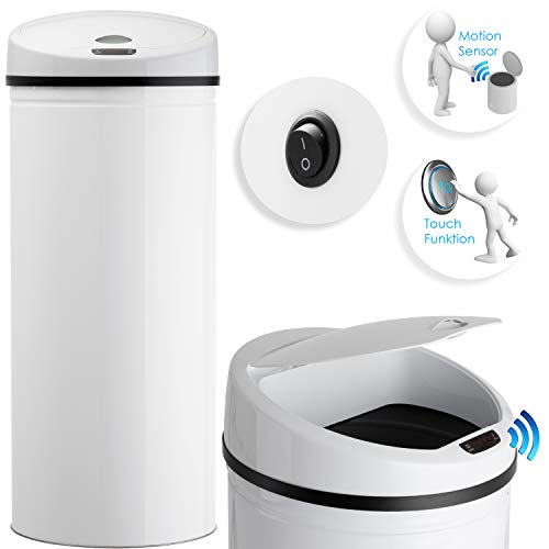 Kesser® Sensor Mülleimer ✓ Automatik ✓ Abfalleimer ✓ Abfall | EDELSTAHL | 40 Liter Weiß