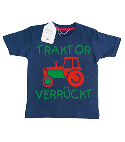 Baby & Kleinkind T-Shirt Marine 86-92 'Traktor VERRÜCKT''