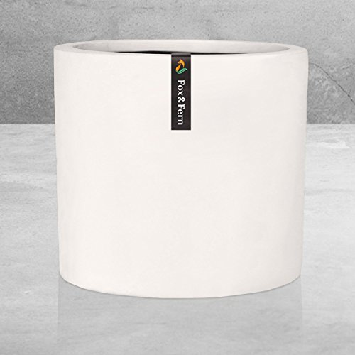 12' Large Plant Pot by Fox & Fern - Fits Plant Stand - Drainage Plug - Outdoor Indoor - Matte White