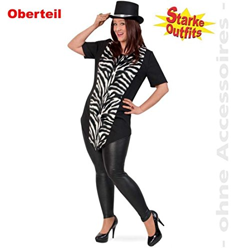 narrenwelt Zebra Big Stripes con felpa 50, camiseta larga para mujer, camiseta grande, disfraz de cebra, para mujeres fuertes, tallas grandes