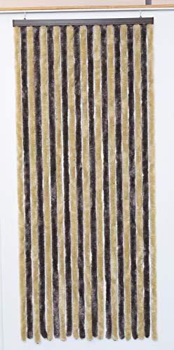 Rideau de porte (90 x H210 cm) Chenille Taupe et beige