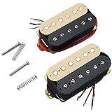 Musiclily Set de Humbucker 50mm Pastilla del Mástil y 52mm Pastilla del Puente para Guitarra Eléctrica, Zebra