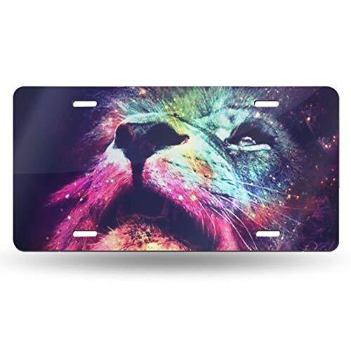 Placa de matrícula de alta calidad colorida cara de león patrón de galaxia de calidad gruesa duradera cubierta de placa de matrícula de aluminio novedad placas de matrícula 6 pulgadas x 12 pulgadas