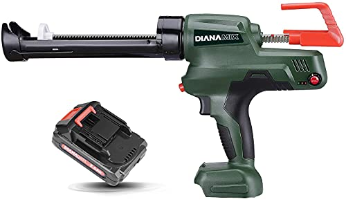 DIANAMIX Cordless Caulking Gun with Battery,20V Electric Caulk and Adhesive Gun Kit,10oz/300ml,with Charger and 1.5Ah Li-Battery,Cartridge Gun with Swivel Carriage