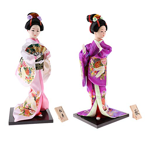 IPOTCH 2 / Paquete Muñeca Japonesa Kimono Geisha - Muñeca Kabuki Decorativa Oriental - Bailarinas - Rosa/Rosa