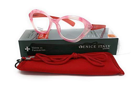Gafas de lectura Mujer Diseño en Colores: Lila, Verde, Demi, Azul, Rojo. VENICE Padita - Dioptrías: 1 a 3,5 (Rojo, 2,00)