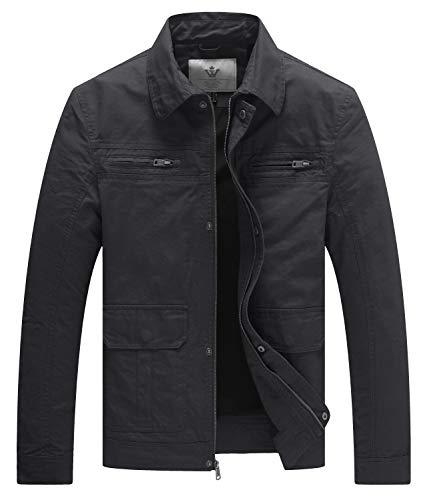 WenVen Men's Casual Outdoor Sportswear Military Jacket(Gray,M)